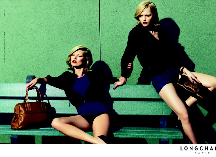 Kate Moss and Sasha Pivovarova in Longchamp's spring 09 ready-to-wear collection.
