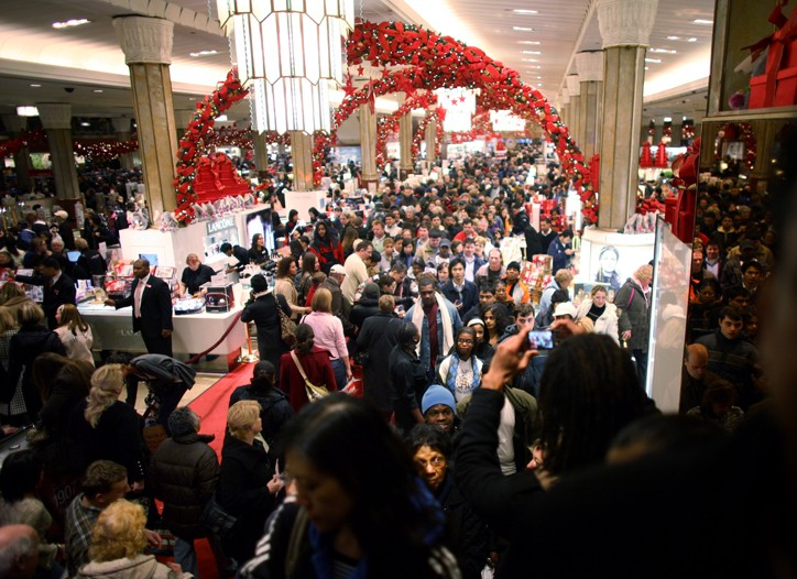 A crowd of shoppers hunt for bargains at Macy's in New York City.