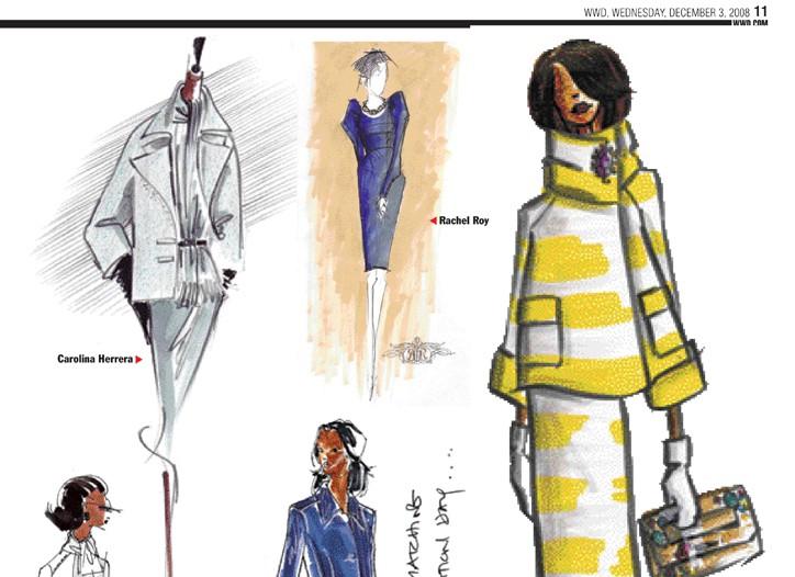 Designer sketches in WWD