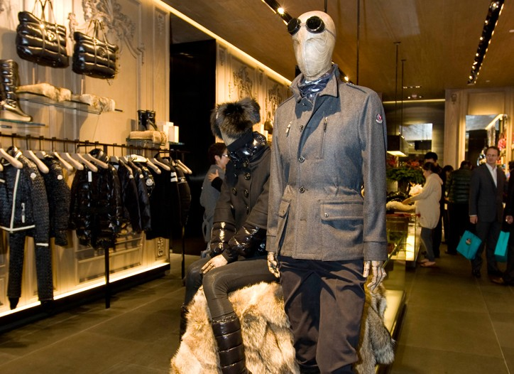 Inside the Moncler store.