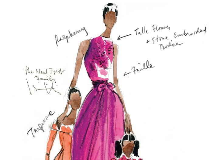 Isaac Mizrahi sketch for Michelle, Sasha and Malia Obama.