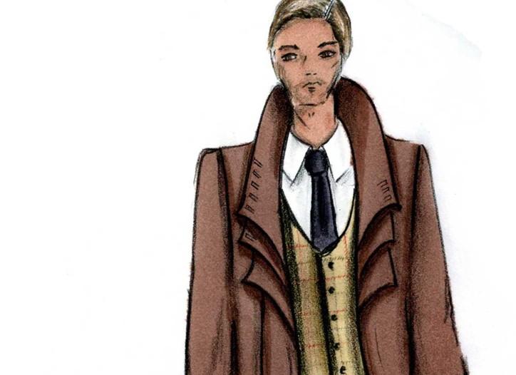 A men's wear sketch by Alvin Valley.