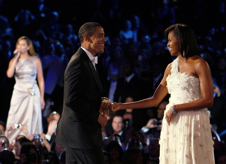 U.S. President Barack Obama and first lady Michelle Obama, wearing a gown by Jason Wu, dance at the Leadoff Neighborhood Inaugural Ball.