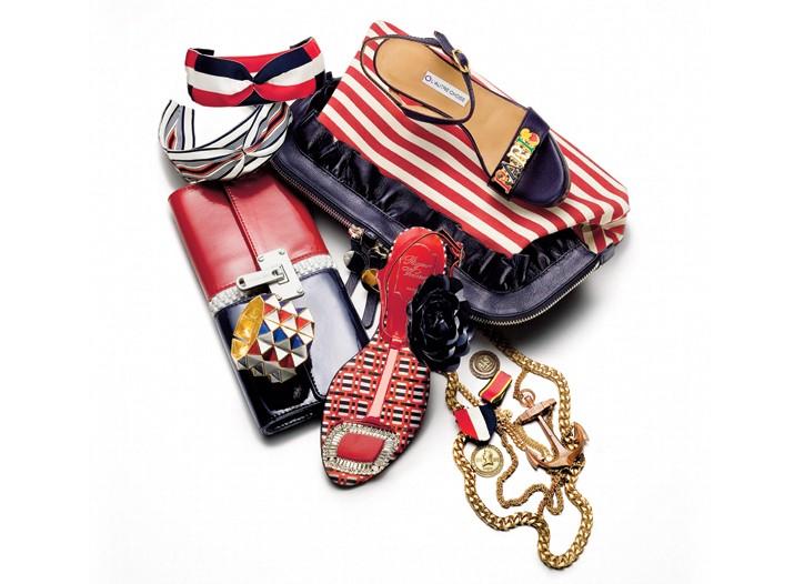 Clockwise from top: Jennifer Ouellette headbands, L'Autre Chose sandal, Bruno Frisoni clutch, Thea Grant necklace,  Roger Vivier crystal thong, Michael Kors clutch, Kenneth Jay Lane bracelet.