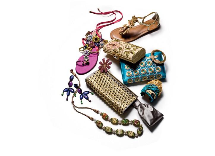 Clockwise from top left: Diego Dolcini sandal, Manju Jasty bracelet, Mary Norton clutch, Subversive Jewelry  cuff, Valentino clutch, Manju Jasty necklace, Diana Broussard earrings, Azzaro cuff.