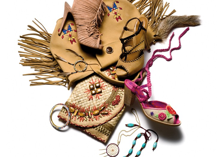 Clockwise from top left: Christian Louboutin bootie, Bally sandal, Anna Sui shoe, The Divine Tribe, Nicole Khristine, Anya Hindmarch clutch, Fred Leighton enamel bracelet.