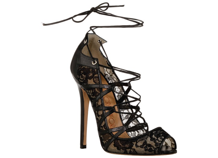 Courtney Crawford cotton lace and calfskin shoe
