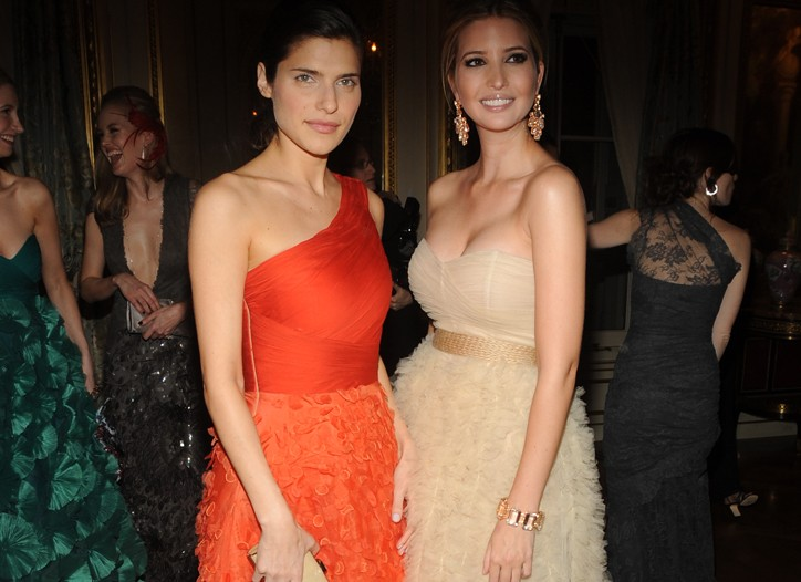 Lake Bell in Monique Lhuillier and Ivanka Trump.