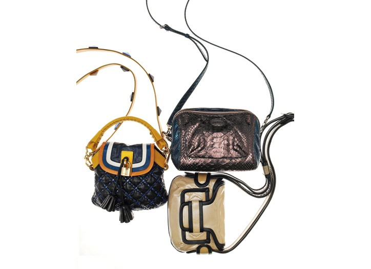 Clockwise from top: Tod's python bag; Pierre Hardy patent leather bag; Marc Jacobs lambskin, deerskin and calfskin bag.