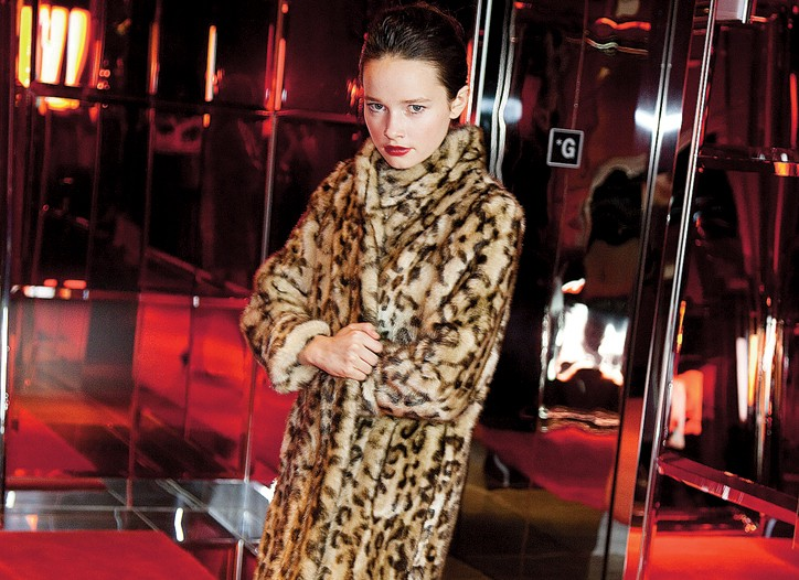 Donna Salyers' Fabulous Furs' acrylic jacket. Tahari shoes.