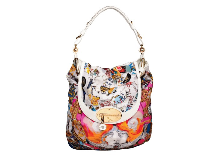 Julie Verhoeven collaborated with Versace, where her colorful collages decorate several of the house's leather goods, such as this fanciful bag.