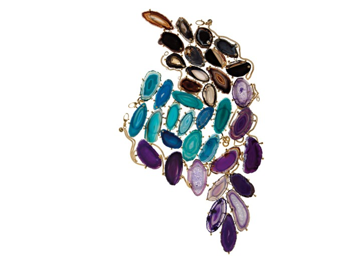 From top: Gucci 18-karat yellow gold and black agate necklace, 18-karat yellow gold bracelet with blue and green agates,and 18-karat yellow gold and purple agate necklace.