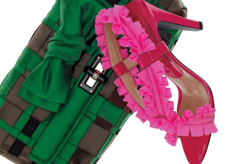 From top: Lanvin silk satin clutch, and Olivia Morris patent leather shoe with rayon and Lycra spandex ruffle.