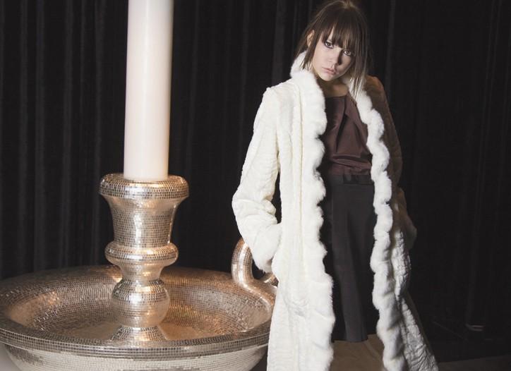 Donna Salyers Fabulous Furs' acrylic coat; Single's acetate and cotton dress. Elie Tahari shoes.