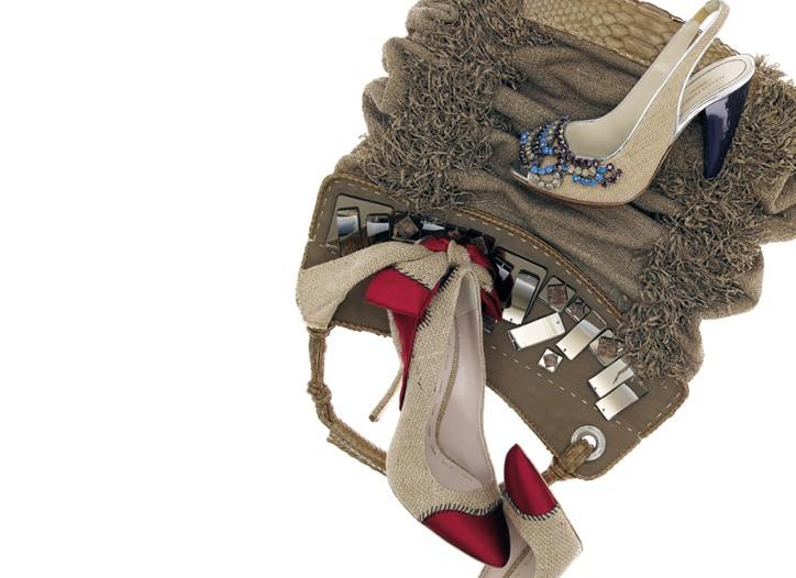 Clockwise from top: Donna Karan python and mirrored-glass bag; Alberta Ferretti cotton, canvas and rhinestone shoe; Miu Miu cotton, linen and silk satin pumps