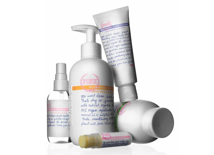 Items from the Pink bath and body lineup.