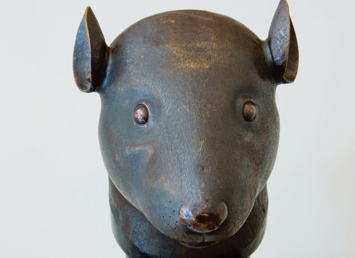 A bronze rat head from the Qing Dynasty.