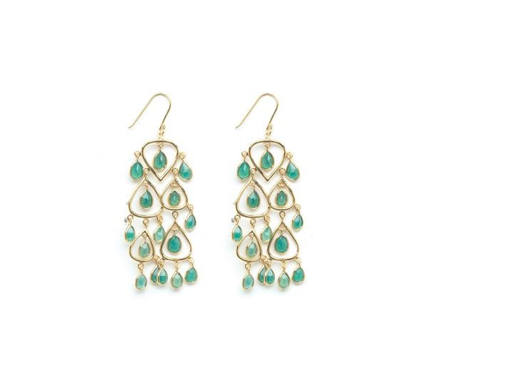 Luxe jasmine chandelier earrings in semi-precious greenonyx for $79.