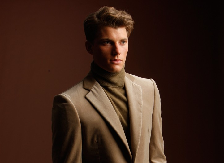 Bottega Veneta's Cashmere and velvet blazer, cashmere turtleneck, cotton pants and shoes.