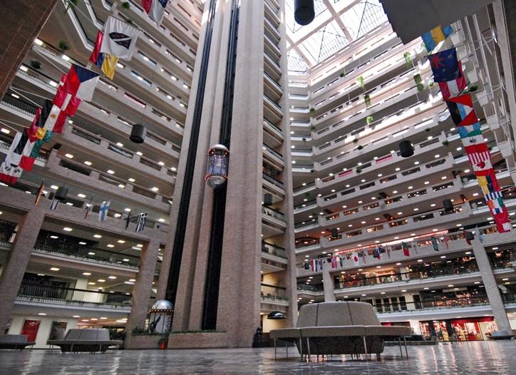 The atrium at the World Trade Center.
