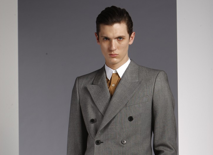 Dries Van Noten's wool and cotton suit and cotton shirt, Burberry Prorsum's wool sweater.