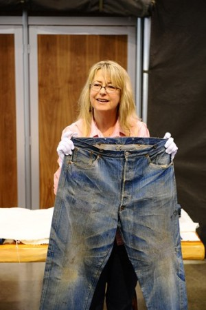 Lynn Downey with Levi's jeans made in 1879.