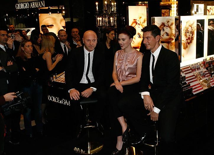 Domenico Dolce, Scarlett Johansson and Stefano Gabbana