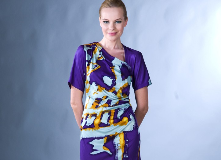 Buyers looked for colorful print dresses for fall, like this one from Jane Wang.