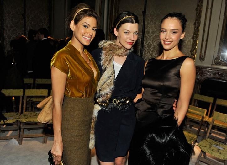 Eva Mendes, Mila Jovovich and Jessica Alba front row at Miu Miu.