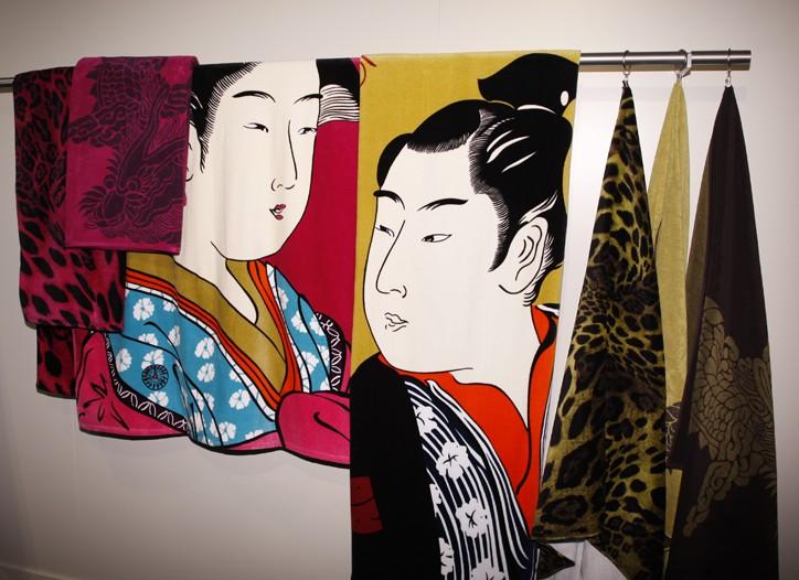 Natori's Geisha and Samurai-inspired beach towels.