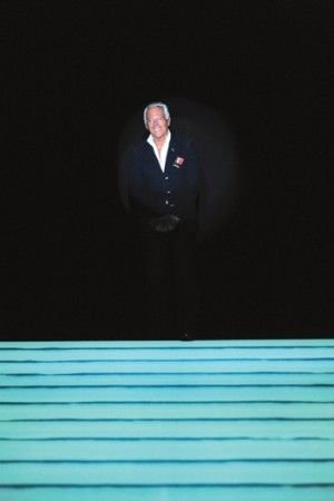 Giorgio Armani sporting an Obama button.