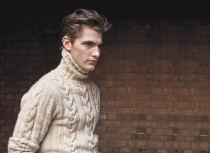 Gilded Age's cashmere turtleneck, Michael Kors' wool and elastic pants. John Bartlett's belt.