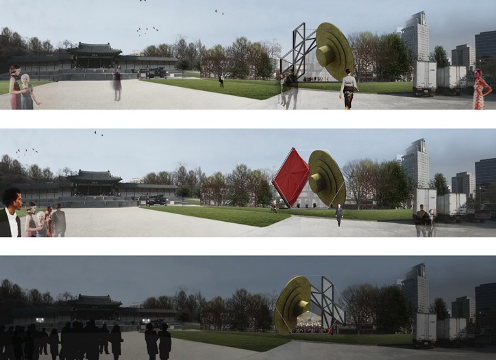 Rendering of Prada Transformer on Gyeonghui Palace site
