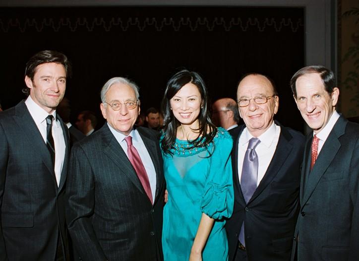 Hugh Jackman, Nelson Peltz, Wendi Murdoch (wearing Alberta Ferretti), Rupert Murdoch and Michael Gould.