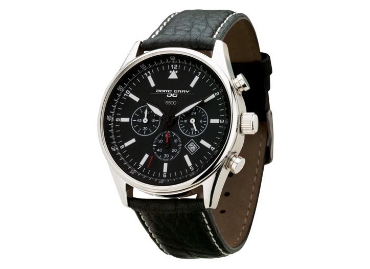 The Jorg Gray black chronograph watch.