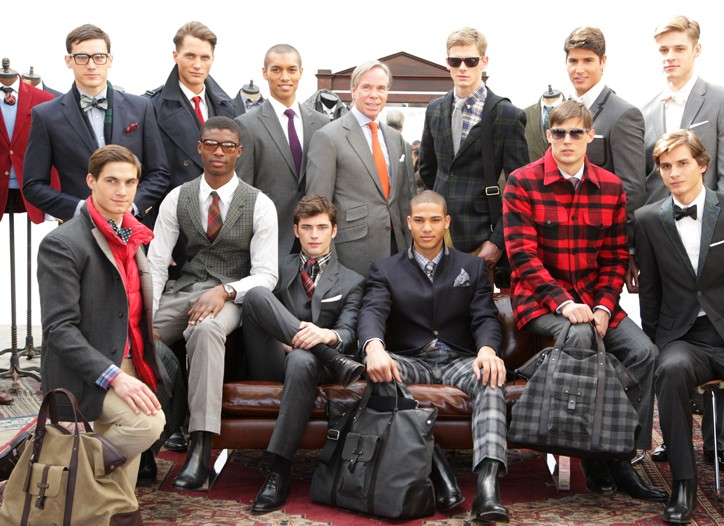 Tommy Hilfiger (center) among the fall tailored looks.