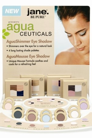 Pre-pack display of AguaCeuticals eye products.