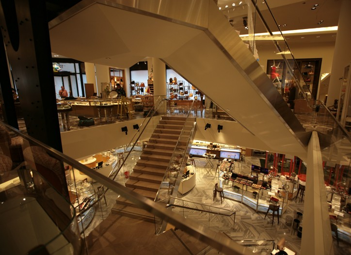 The dramatic staircase spans from the lower level to the fifth floor at Barneys' six-floor Chicago store.