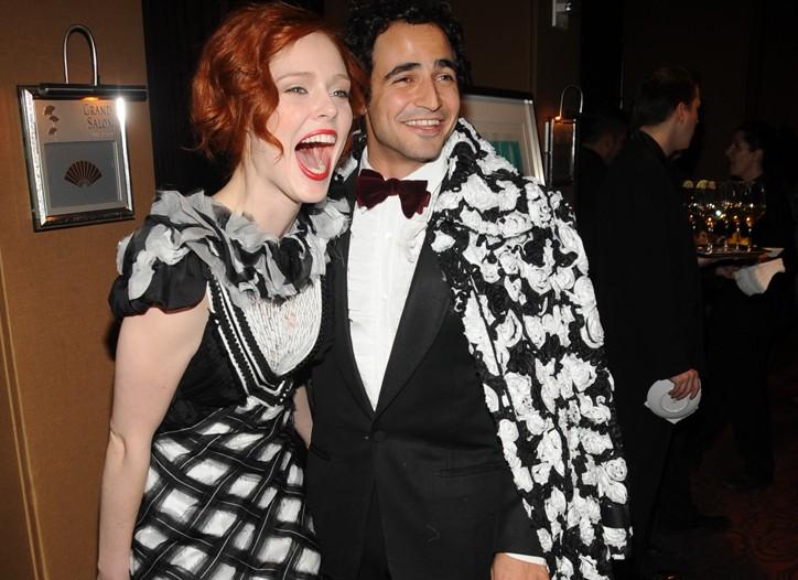 Coco Rocha in Zac Posen with the designer.