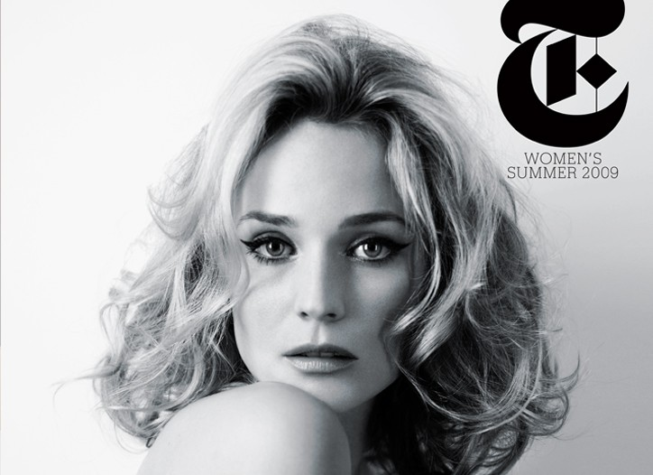 Diane Kruger on the cover of the scaled-back summer issue of T.