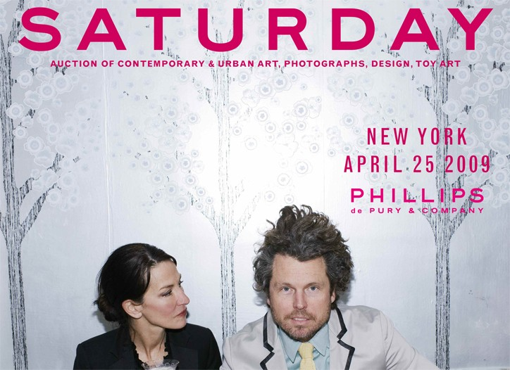 Cynthia Rowley and Bill Powers on the cover of Phillips de Pury & Co.'s new catalogue.