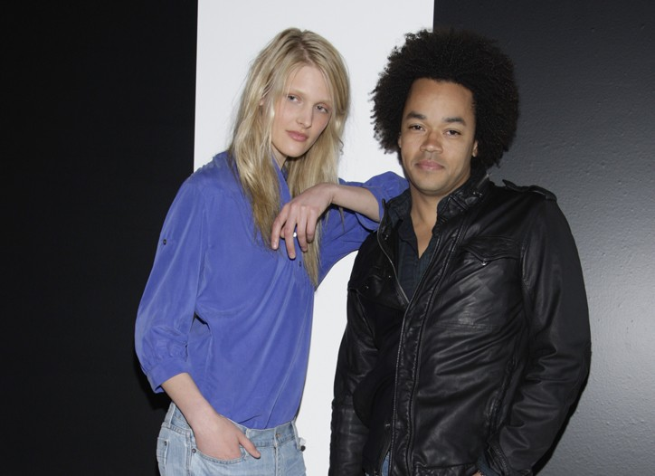 Patrick Robinson (right) with a model.