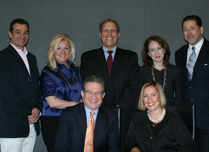 Tom DiDonato, Mindy Grossman, Len Schlesinger, Pauline Brown and John Howard. Les Berglass and Gina Turner (seated).
