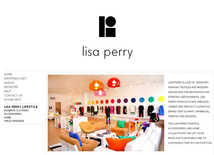 A page from Lisa Perry's new e-commerce site.