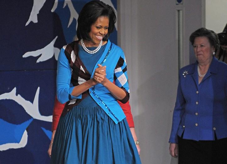 Michelle Obama wears Junya Watanabe over Jason Wu in London on Thursday.