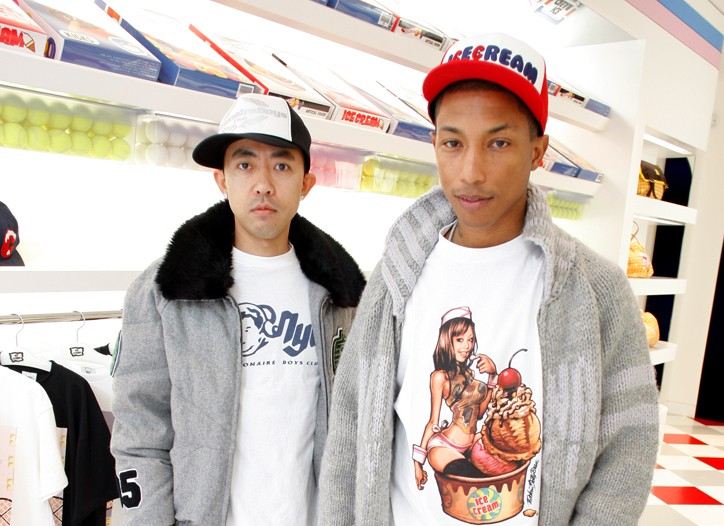 Nigo and Pharell Williams at the Billionaire Boys Club and Ice Cream store in New York.