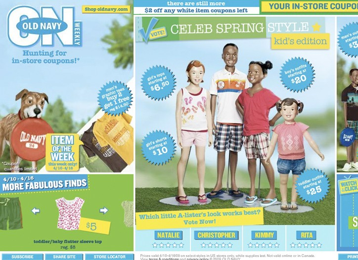 A shot of Old Navy's most recent weekly in-store promotion, which features discounts for all members of the family, including infants, toddlers, children, men and women.