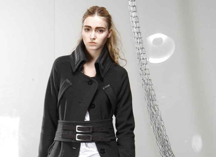 Maise's cotton and elastane jeans with G-Star NY Raw's wool and polyamide coat and LNA's cotton T-shirt.