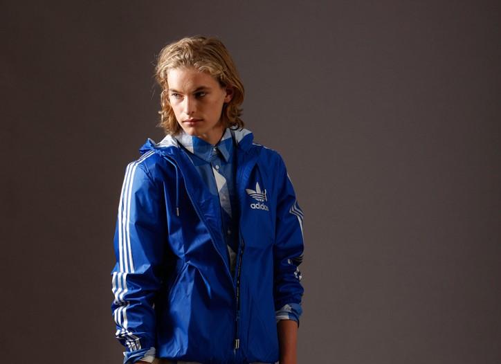 Adidas Originals' nylon jacket and cotton shirt, Quiksilver's cotton pants. Adidas originals' sneakers.