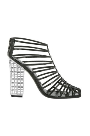 """YSL ankle boot in black patent leather with """"cage"""" heel in silver metal."""